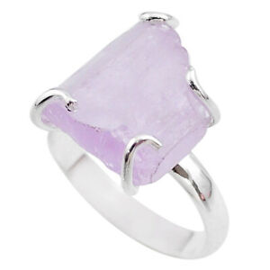 9.04cts Raw Natural Pink Kunzite Rough 925 Sterling Silver Ring Size 8 T48165