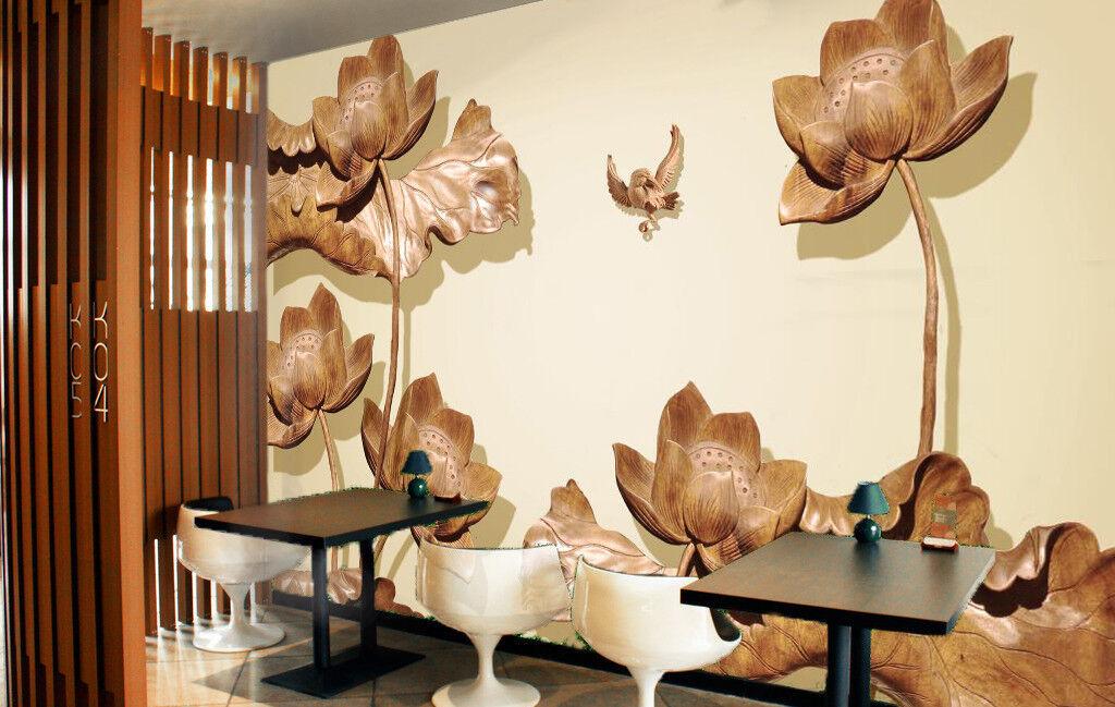 3D Wooden Lotus 754 Wall Paper Murals Wall Print Wall Wallpaper Mural AU Kyra