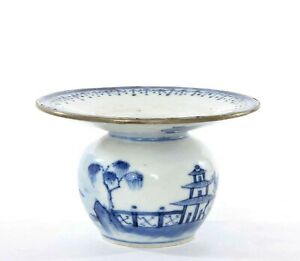 Early 19C Qianlong Chinese Export Blue & White Porcelain Spittoon Vase Jar