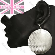 "2.75""long TEXTURED DISC 5.6cm big SILVER FASHION EARRINGS aztec pattern modern"