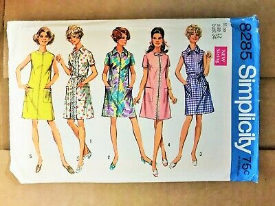 8285 Vintage Simplicity Sewing Pattern Misses 1960/'s A line Dress Round Neckline