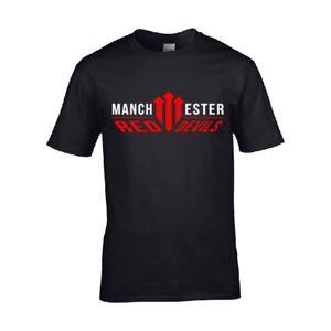 Manchester-United-T-Shirt-Soccer-Black-Men-Manchester-Is-Red-Jersey-Devils-Tee-X