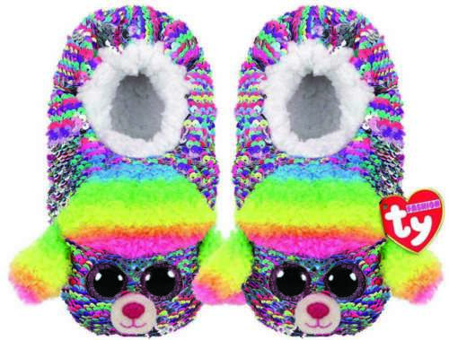 TY BEANIE BABIES RAINBOW POODLE SEQUIN SLIPPERS SMALL MEDIUM LARGE