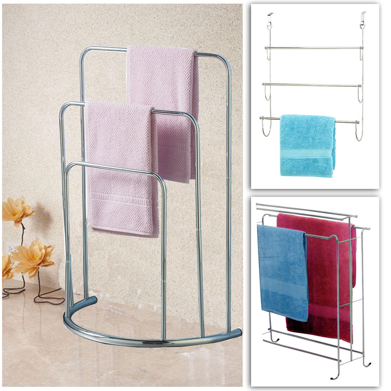 Deluxe Towel Holder Free Standing Rail Over Door Bathroom