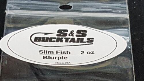 1 S /& S Bucktails SLIM FISH Long Casting Lure BLACK//PURPLE 2 oz.