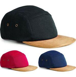 1c4aad73f3e Mens Beechfield Suede Peak 5 Panel 199% Cotton Baseball Cap Hat