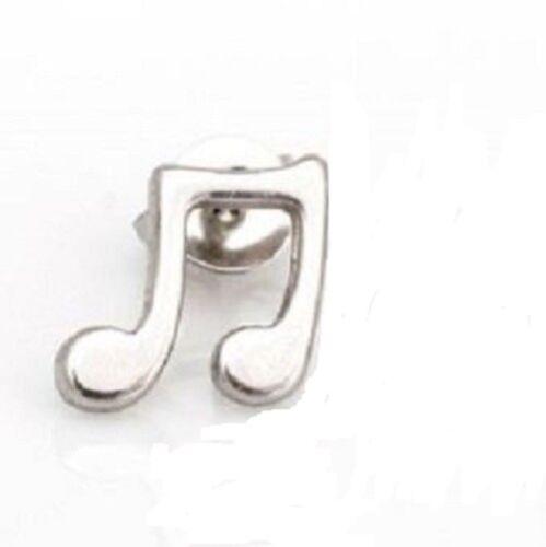 Edelstahl Notenschlüssel Ohrstecker Ohrringe Einzel Singel Herren Männer kleiner