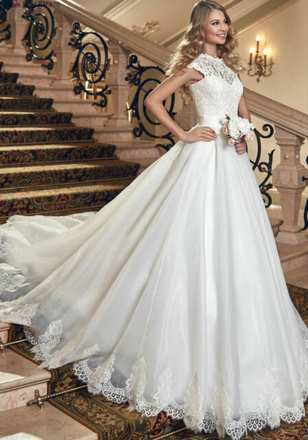 Custom New noble White/ivory Wedding dress Bridal Gown