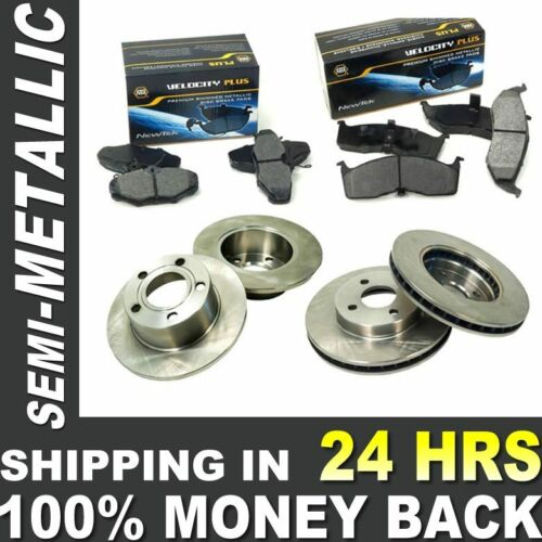 Brake Pads+Rotors Premium Quiet Low Dust for Ford K33499 Front+Rear Kit