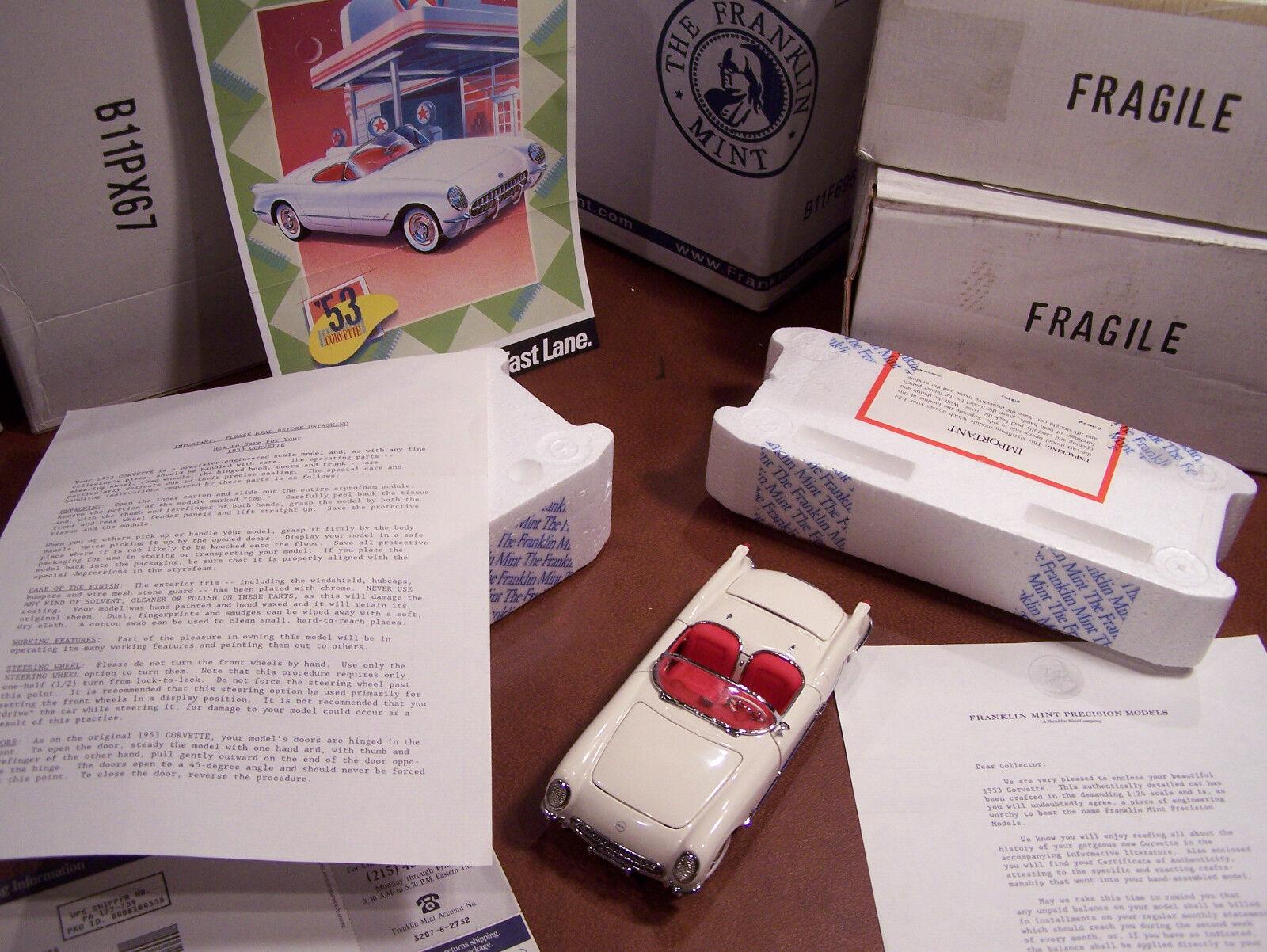 MIB FRANKLIN MINT 1 24 1953 EDITION CHEVROLET CORVETTE W DOCS & BOX