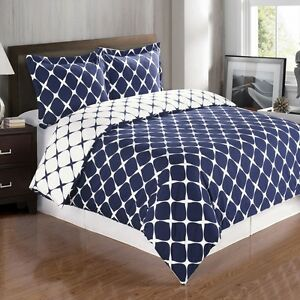 Navy-Blue-and-White-Cotton-Duvet-Cover-Bedding-Set-with-Shams-ALL-SIZES