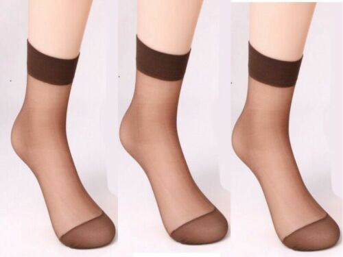 ladies silky smooth 15 Denier Shiny Knit Trouser Anklet Pop Socks BLK//NUDE//BROWN