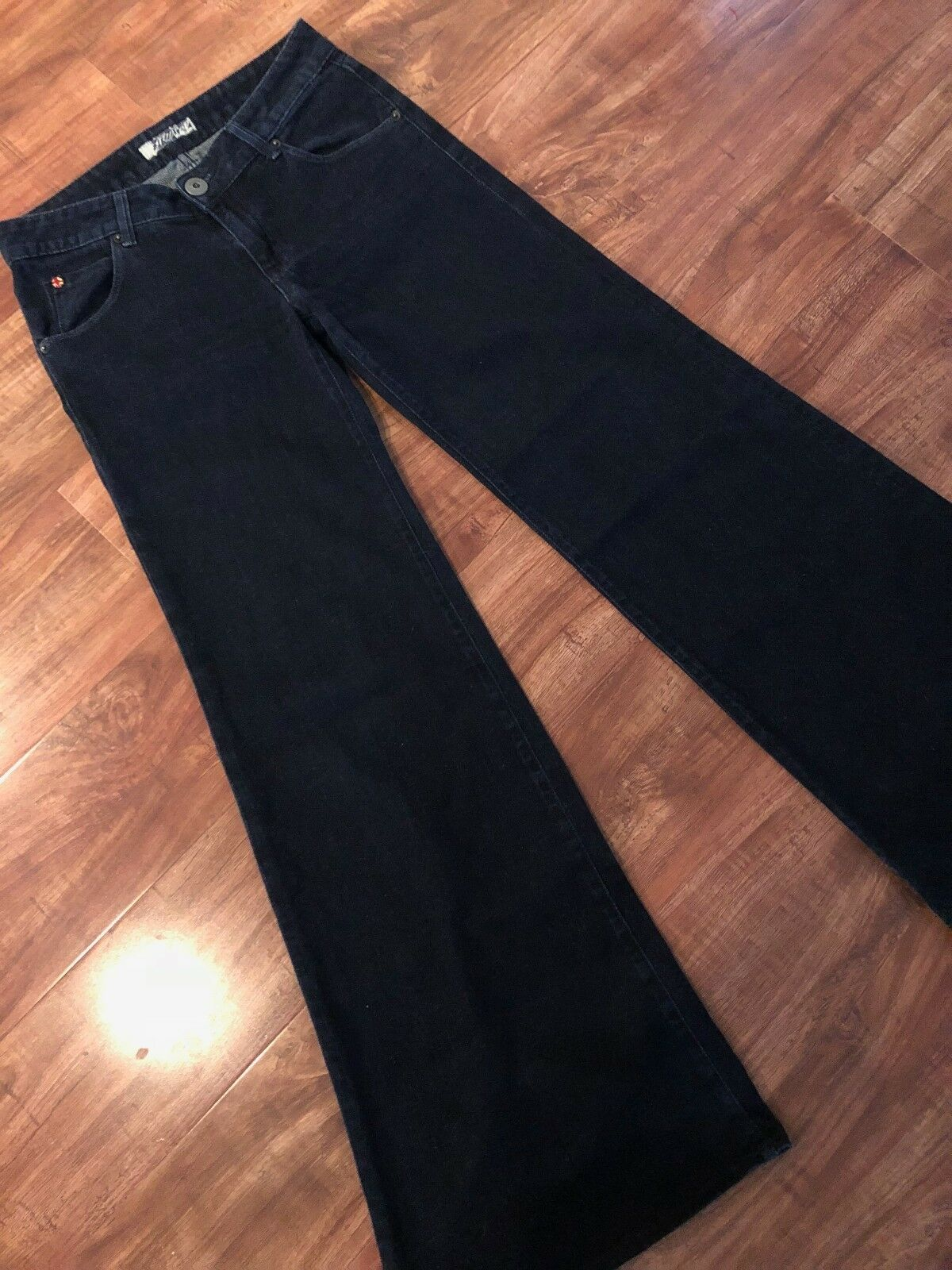 HUDSON Jeans Trousers Women's Super Wide Leg Mid Rise Dark bluee Wash Size 27