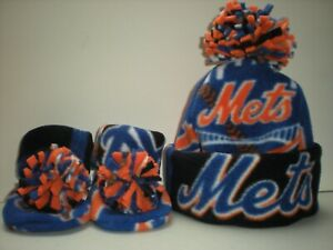 0903a544e Details about METS BABY HAT HANDCRAFTED newborn BEANIE & BOOTIES FLEECE SET  MLB NEW YORK NY