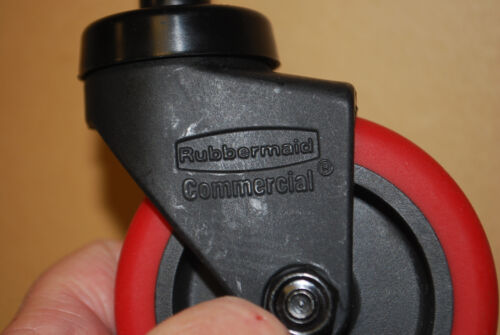 Rubbermaid #7580-L2 RED Wave Brake Quiet Casters Wheels Set of 4 S5851