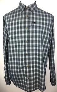 Columbia-Omni-Shield-Mens-L-Button-Up-Shirt-Long-Sleeve-Plaid-Water-Repellent