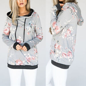 f1522f6a50 Women Print Floral Hoodie Ladies Lace Up Blouse Girl Hooded Flower ...