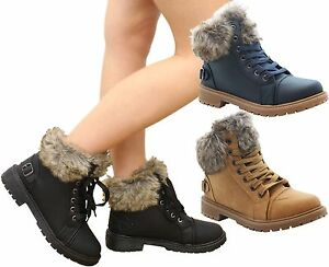 Ladies Winter Ankle Boots Combat Lace Up Grip Sole Walking Snow Hiking Shoes