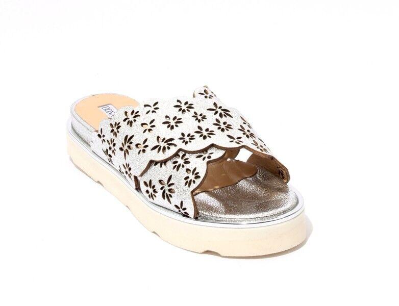 femmes Piu 53017a argent blanc Leather Platform Wedge Slides Sandal 37   US 7