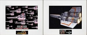 """(2) 1978 BattleStar Galactica 8""""x10"""" Colonial VIPERS Pictures - 11"""" x 14"""" Matted"""