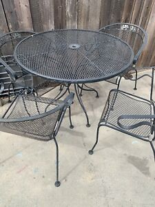 Details About 5 Piece Rus Woodard Wrought Iron Patio Furniture Set Mid Century Vintage