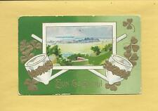 IRISH LANDSCAPE, CLAY PIPES On Lovely Vintage 1912 ST. PATRICK'S DAY Postcard