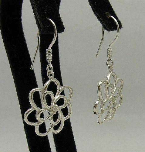 Stylish Sterling Silver Earrings Flowers Solid 925 New Light Handmade Empress