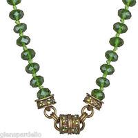 Kirks Folly Timeless Crystal Interchangeable Magnetic Necklace Brasstone/olivine
