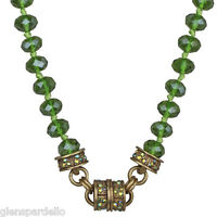 Kirks Folly Timeless Crystal Interchangeable Magnetic Necklace Brasstone/olivine