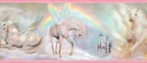Wallpaper Border Pink Unicorn Dreams Rainbows and Castles