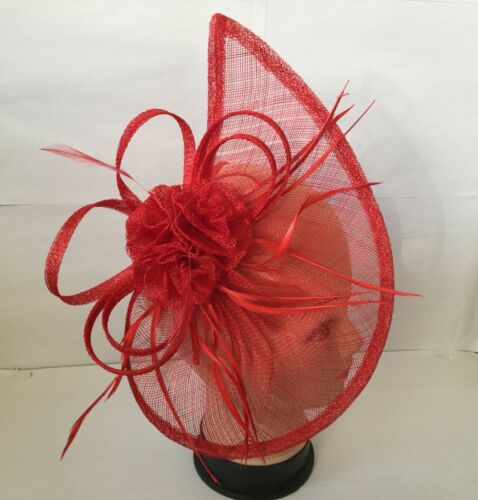 Large Red Headband and Clip Hat Fascinator Weddings Ladies Day Race Royal Ascot