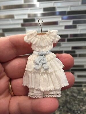 Dollhouse Miniatures 1900's White & Lace Little Girls Dress Replica w/Pantaloons