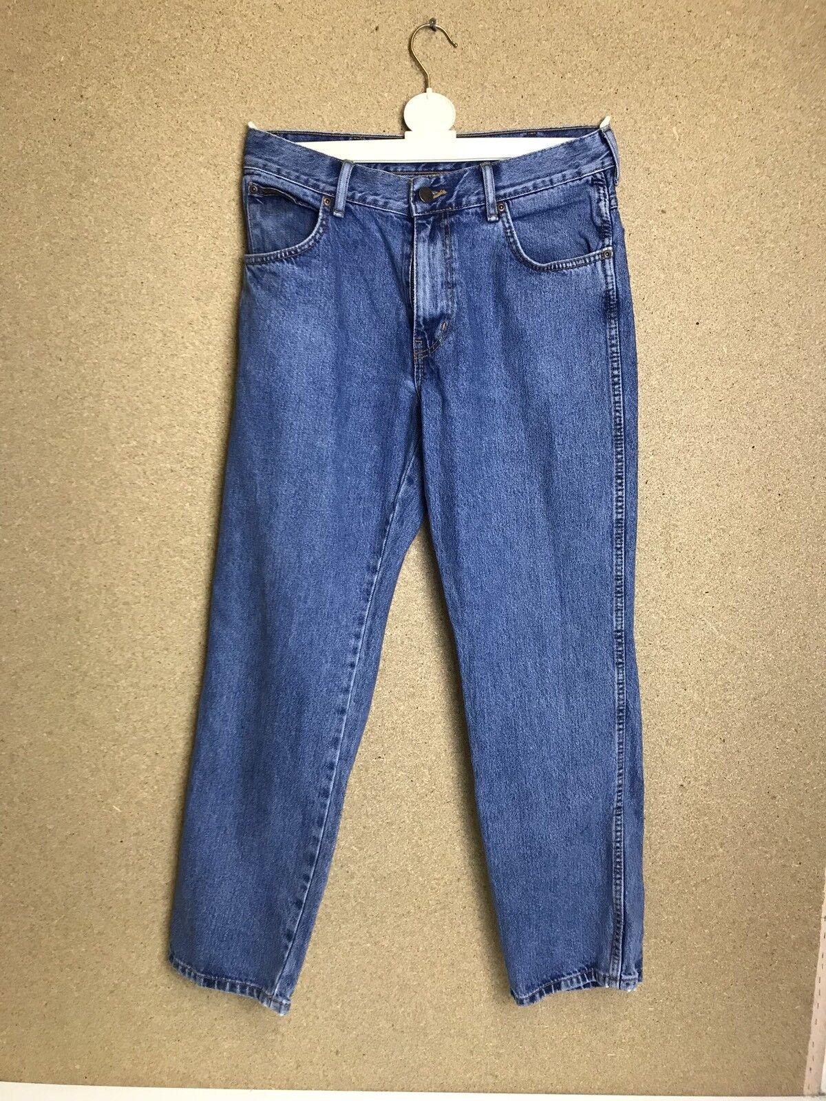 WRANGLER TEXAS Mens Jeans Blau Denim Straight Leg Größe W32 L20 - a27  | Elegantes Aussehen