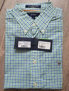 Gant Kurzarm Hemd Shirt Gr.M Long Beach POP. Green Karo Klassiker Elegant