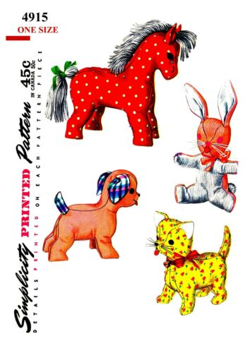 Vintage Simplicity Horse Dog Bunny Cat Stuffed Animal Fabric sew Pattern #4915