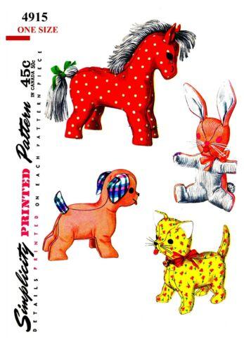 Vintage Simplicity Horse Dog Bunny Cat Stuffed Animal Fabric sew Pattern #4915