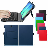 Folio Stand Cover Case With Bluetooth Keyboard For Samsung Galaxy Tab Tablet