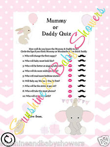 Baby Shower Game Mummy Or Daddy Quiz Elephant Bunny 20 Players