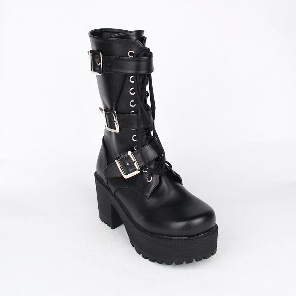 Schwarz Gothic Goth Punk Cosplay Army Damen-stiefel Stiefeletten boots Cosplay Punk Kostüme f28814