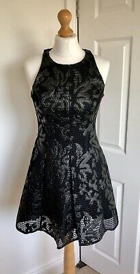 River Island Little Black Mesh Panelled Going Out Sleeveless LBD Dress Size