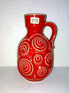 Vase-Krug-BAY-85-17-Rot-Jura-Snails-Schnecken-Henkel-Handle-WGP-Mid-Century-60s