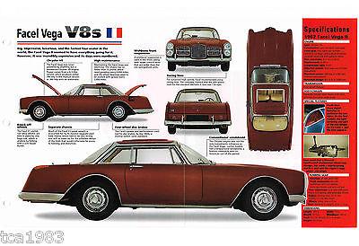 1961/1962/1963 Facel Vega V8 Spec Foglio/brochure/opuscolo/catalog Aspetto Elegante