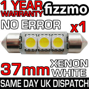 37mm 3 SMD LED 239 272 C5W CANBUS ERROR WHITE INTERIOR LIGHT FESTOON BULB UK