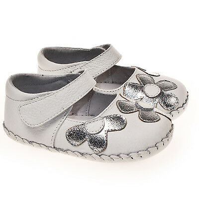 Baby Girls Infant Toddler White Soft REAL Leather Cruiser Shoes Large Pink Bow