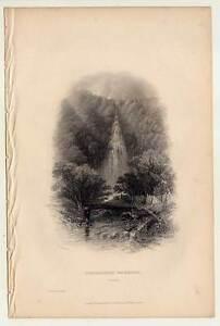 Powerscourt Waterfall - Wicklow - IRLAND - IRELAND - Stahlstich 1840 Angeln