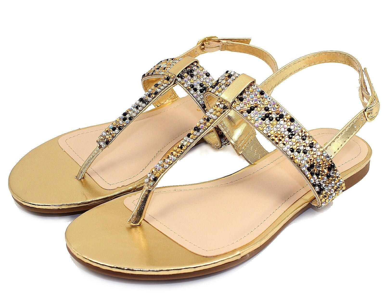 JOSALYN-22 Fushion Bead Flat Women T-Strap Cute Sandals Party Women Flat Shoes Gold 10 8f9f0a