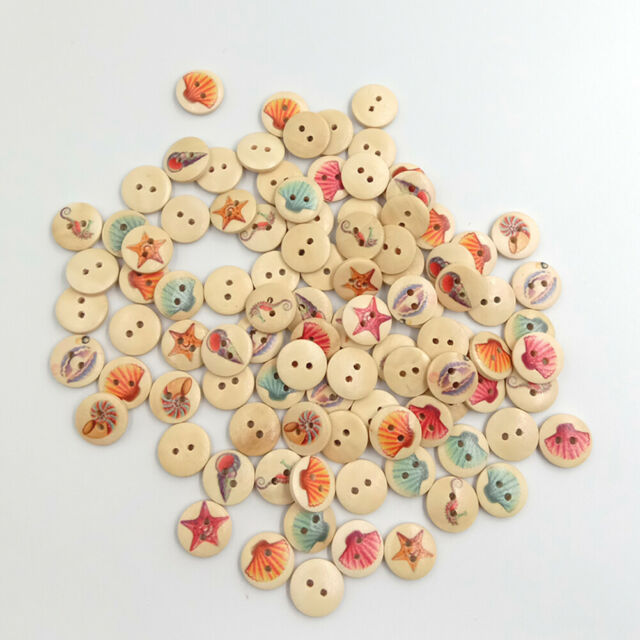 BG_ EB_ 100x Starfish Shell Seahorse 2 Holes Wooden Buttons DIY Sewing Scrapbook