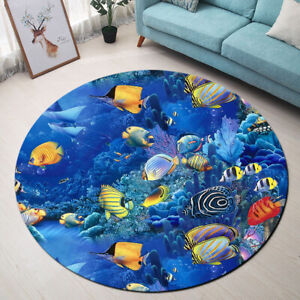 Details About Undersea Blue Ocean Fish Coral Reef Area Rugs Living Room Round Floor Mat Carpet