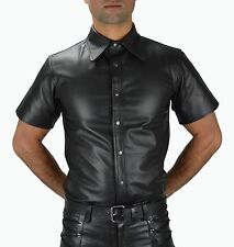 100% Real Leather Shirt Soft Nappa Leather Police Uniform,Men Leather Shirt. XL