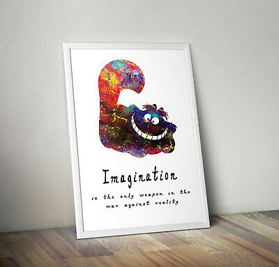 ALICE IN WONDERLAND CHESHIRE CAT WALL ART POSTER A1 - A5 SIZES AVAILABLE